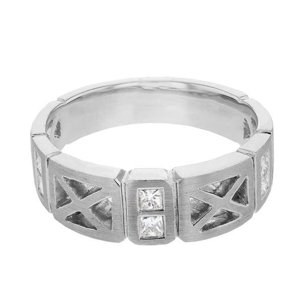 Natural 0.41 CTW Princess Diamond Ring 14K White Gold - REF-86K4R