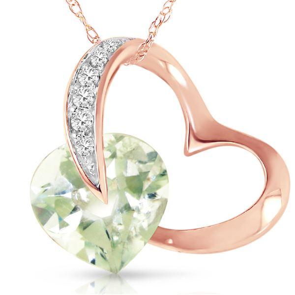 Genuine 3.35 ctw Amethyst & Diamond Necklace 14KT Rose Gold - REF-49Z8N