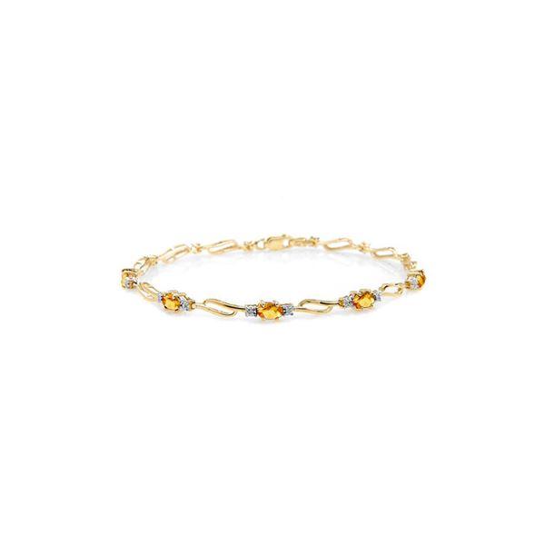 Genuine 3.39 ctw Citrine & Diamond Bracelet 14KT Yellow Gold - REF-82V5W