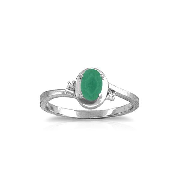 Genuine 0.51 ctw Emerald & Diamond Ring 14KT White Gold - REF-32H3X