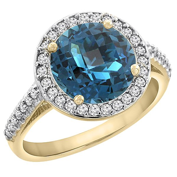 2.44 CTW London Blue Topaz & Diamond Ring 14K Yellow Gold - REF-56R6H