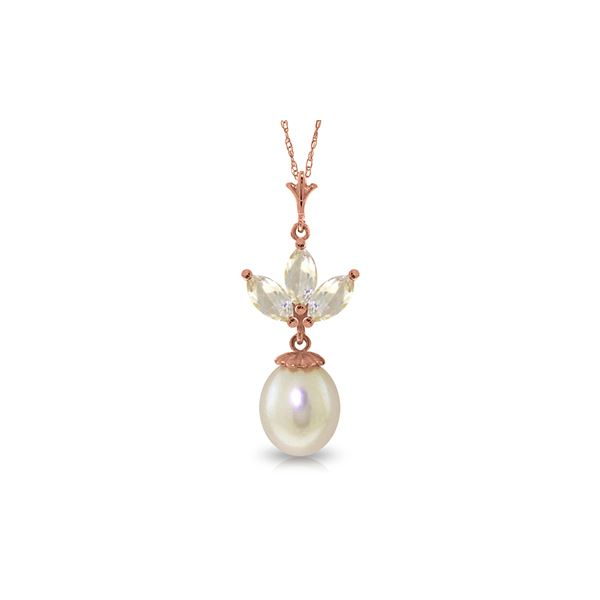 Genuine 4.75 ctw White Topaz & Pearl Necklace 14KT Rose Gold - REF-24R3P