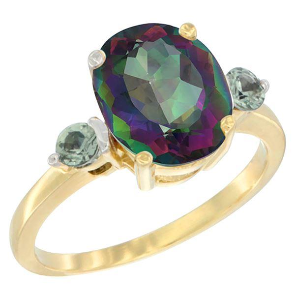 2.64 CTW Mystic Topaz & Green Sapphire Ring 10K Yellow Gold - REF-24N5Y