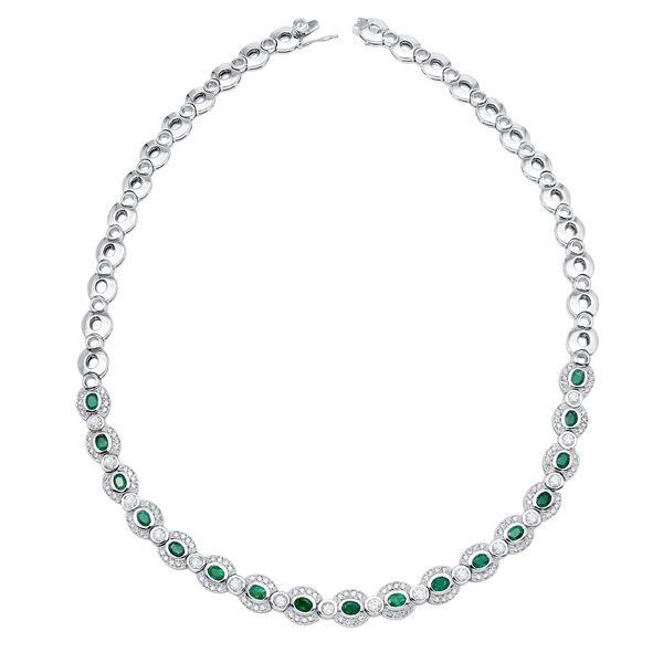Natural 6.50 CTW Emerald & Diamond Necklace 14K White Gold - REF-638F3M