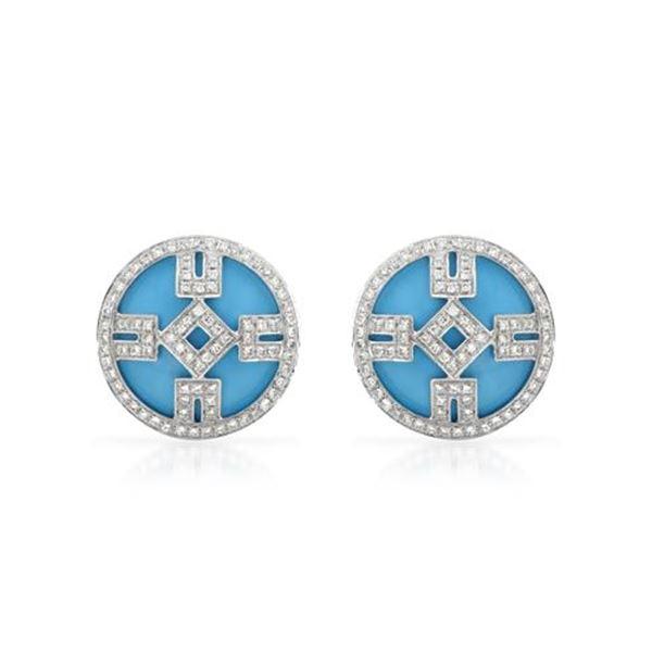 Natural 9.34 CTW Turquoise & Diamond Earrings 14K White Gold - REF-94F5M