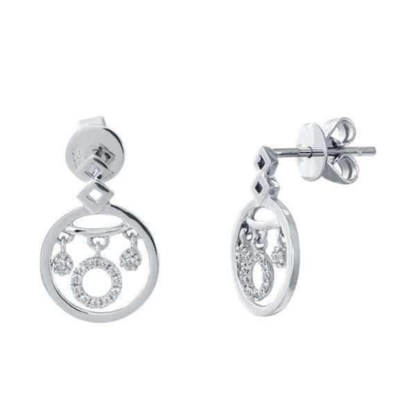 Natural 0.16 CTW Diamond Earrings 14K White Gold - REF-29K7R