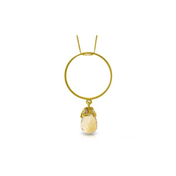 Genuine 3 ctw Citrine Necklace 14KT White Gold - REF-24Y4F