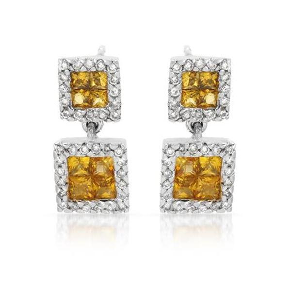 Natural 1.41 CTW Yellow Sapphire & Diamond Earrings 14K White Gold - REF-63F9M