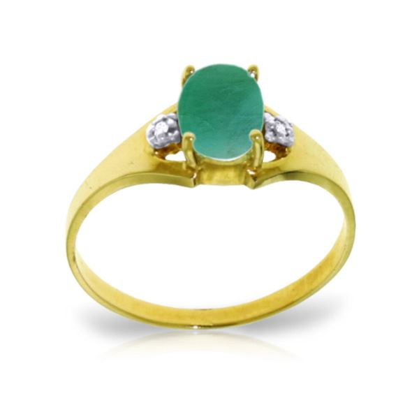 Genuine 1.26 ctw Emerald & Diamond Ring 14KT Yellow Gold - REF-26W2Y