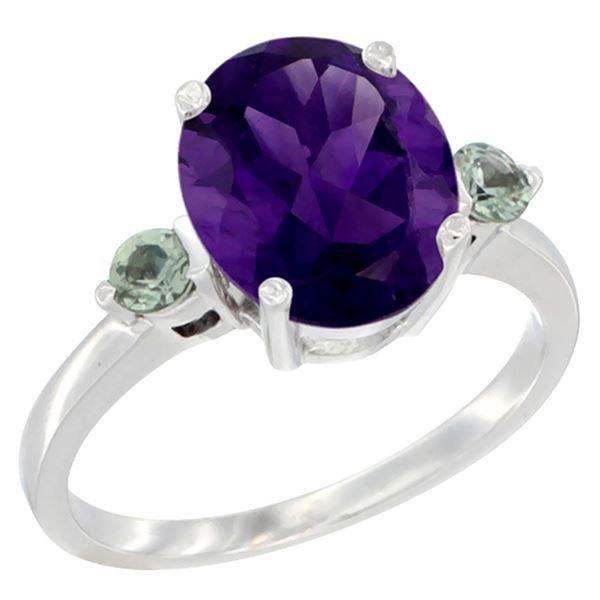 2.64 CTW Amethyst & Green Sapphire Ring 14K White Gold - REF-32X3M