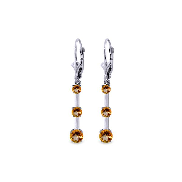 Genuine 2.5 ctw Citrine Earrings 14KT White Gold - REF-39A3K