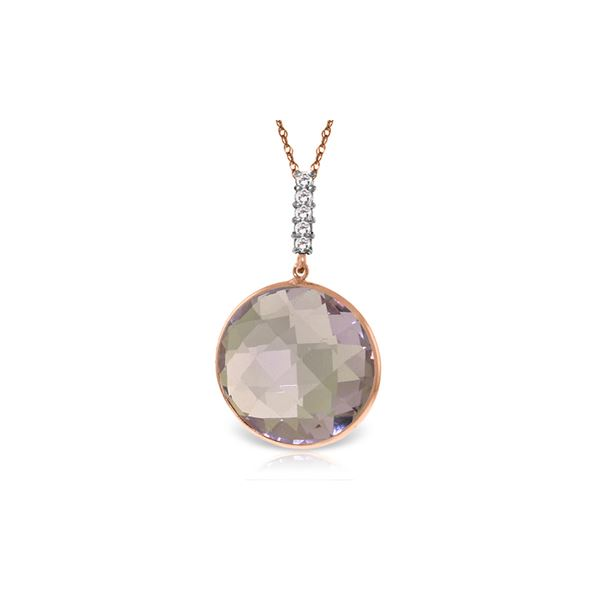Genuine 18.08 ctw Amethyst & Diamond Necklace 14KT Rose Gold - REF-65N8R