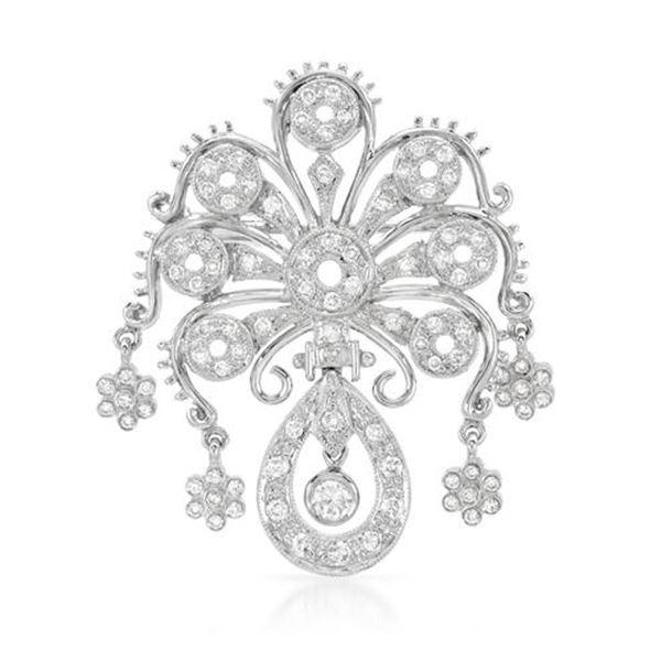 Natural 0.87 CTW Diamond Brooch 18K White Gold - REF-237W6H
