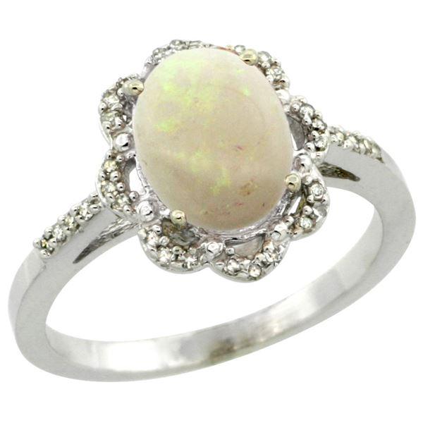 1.24 CTW Opal & Diamond Ring 14K White Gold - REF-45W5F