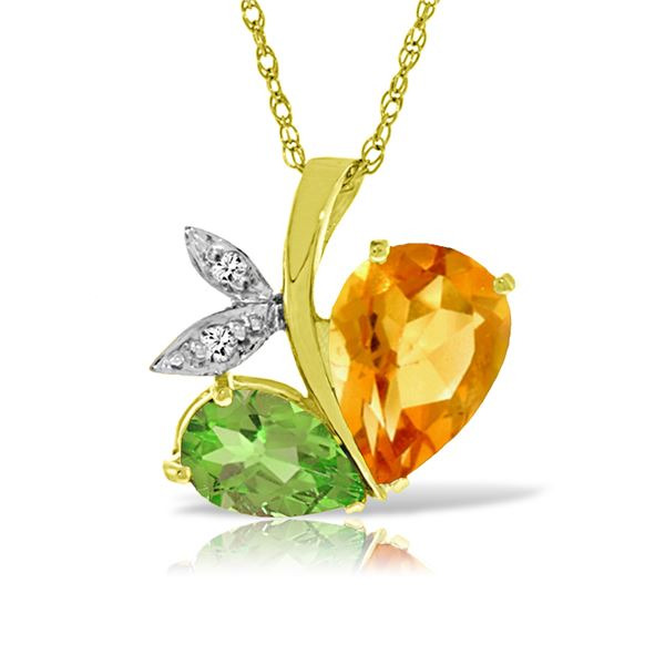 Genuine 4.06 ctw Citrine, Peridot & Diamond Necklace 14KT Yellow Gold - REF-59M2T