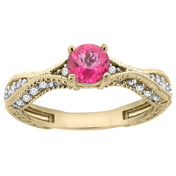 0.81 CTW Pink Topaz & Diamond Ring 14K Yellow Gold - REF-67H8M