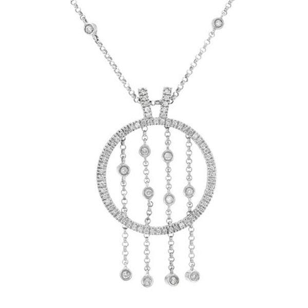 Natural 0.89 CTW Diamond Necklace 18K White Gold - REF-224K3R