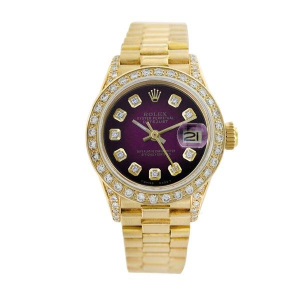 Rolex Pre-owned 26mm Womens Purple Vignette 18K Gold