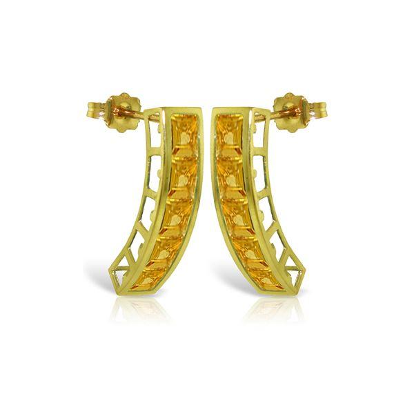 Genuine 4.5 ctw Citrine Earrings 14KT Yellow Gold - REF-38F5Z