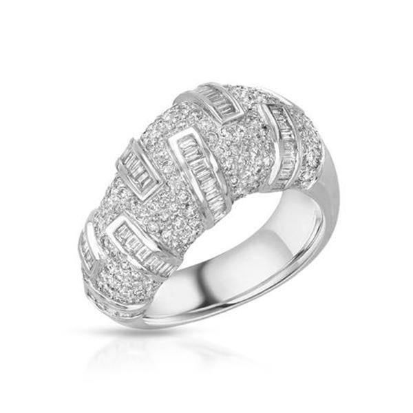 Natural 1.73 CTW Diamond & Baguette Ring 14K White Gold - REF-211F5M