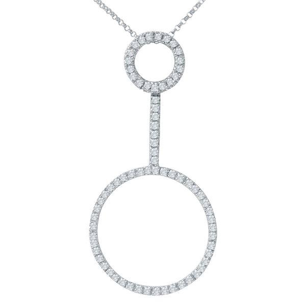 Natural 0.80 CTW Diamond Necklace 14K White Gold - REF-80K3R