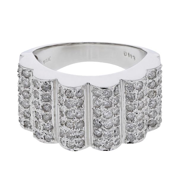 Natural 1.13 CTW Diamond Ring 18K White Gold - REF-196T2X
