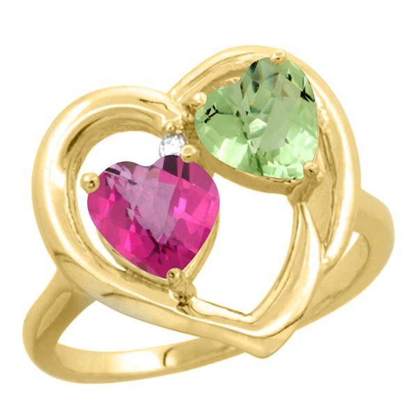 2.61 CTW Diamond, Pink Topaz & Citrine Ring 10K Yellow Gold - REF-23W7F