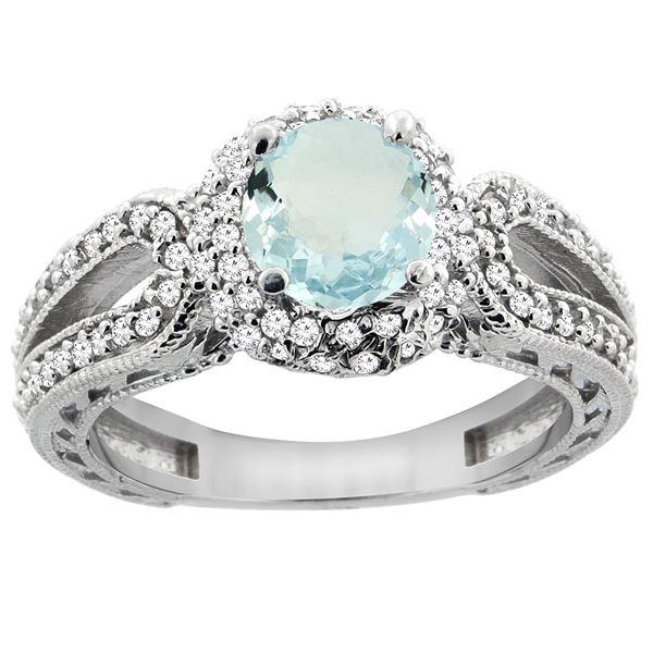 1.25 CTW Aquamarine & Diamond Ring 14K White Gold - REF-88Y8V