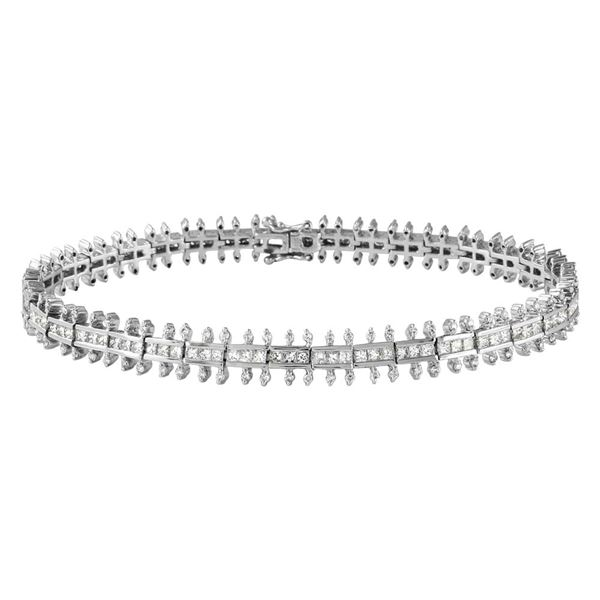 Natural 3.73 CTW Princess Diamond Bracelet 14K White Gold - REF-424F8M
