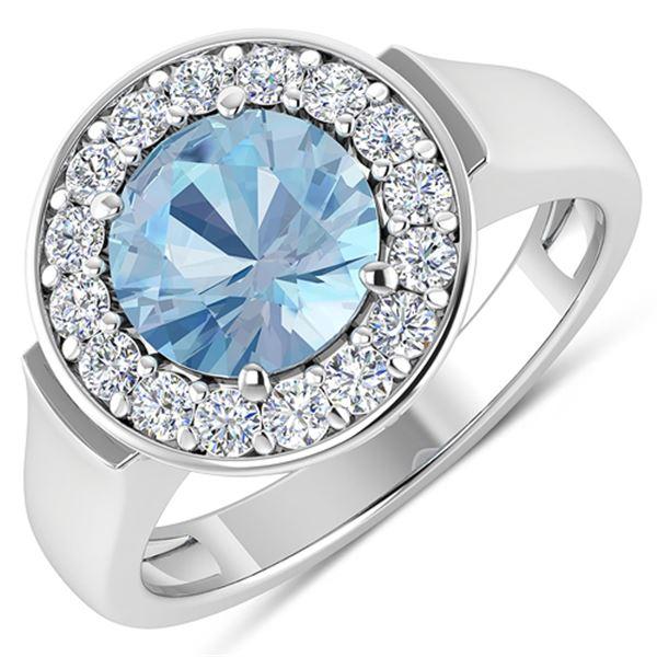 Natural 1.98 CTW Aquamarine & Diamond Ring 14K White Gold - REF-78H8M