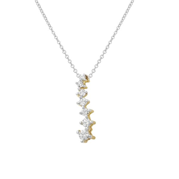 Natural 0.25 CTW Diamond Necklace 14K Yellow Gold - REF-37K8R