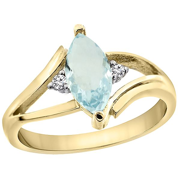 0.94 CTW Aquamarine & Diamond Ring 14K Yellow Gold - REF-35M6A
