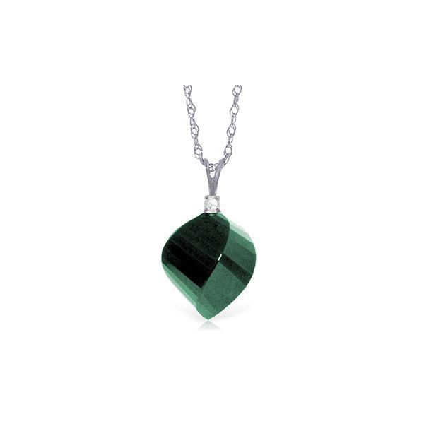 Genuine 15.3 ctw Green Sapphire Corundum & Diamond Necklace 14KT White Gold - REF-31K4V
