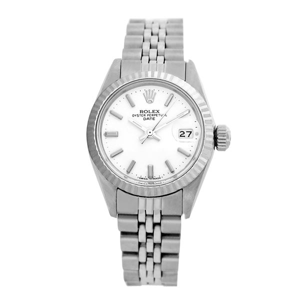 Rolex Pre-owned 26mm Womens Original Rolex White Dial Stainless Steel