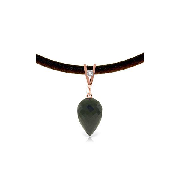 Genuine 12.26 ctw Black Spinel & Diamond Necklace 14KT Rose Gold - REF-37X4M