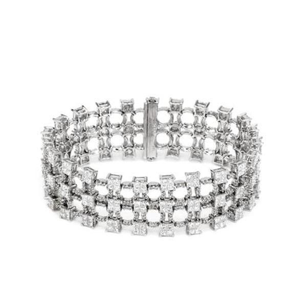 Natural 14.25 CTW Princess Diamond Bracelet 14K White Gold - REF-1720F8M
