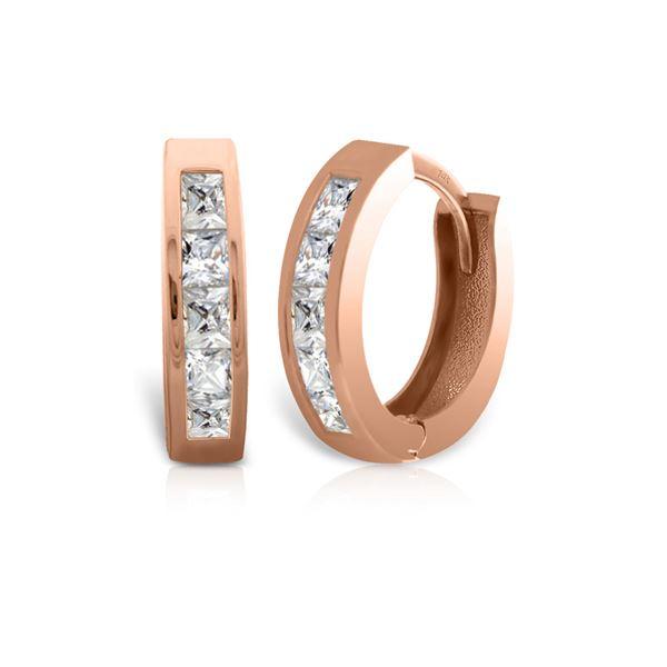 Genuine 1.0 ctw Diamond Anniversary Earrings 14KT Rose Gold - REF-182Y7F