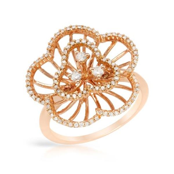 Natural 0.43 CTW Diamond Ring 14K Rose Gold - REF-56K7R