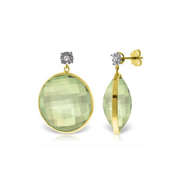 Genuine 36.06 ctw Green Amethyst & Diamond Earrings 14KT Yellow Gold - REF-87N5R