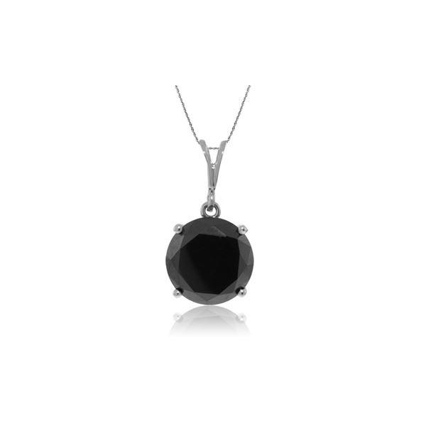 Genuine 3.5 ctw Black Diamond Necklace 14KT White Gold - REF-139T6A