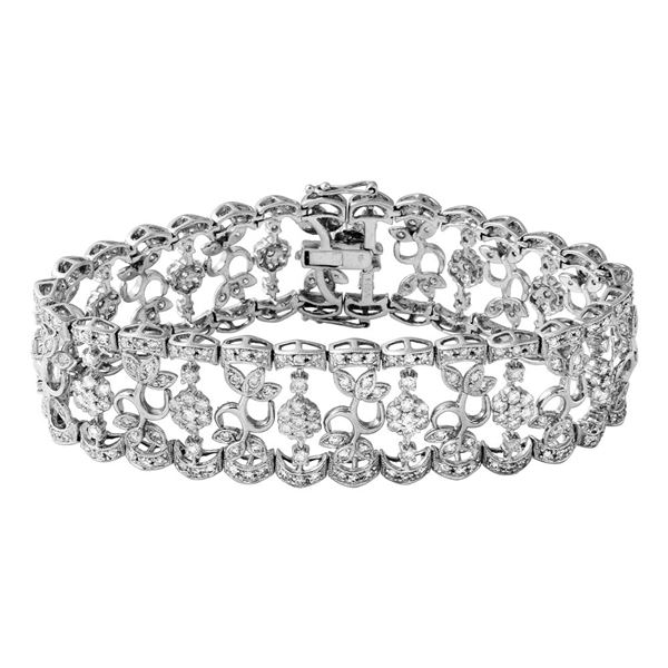 Natural 6.55 CTW Diamond Bracelet 18K White Gold - REF-758W7H