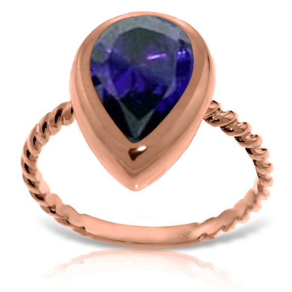 Genuine 3.5 ctw Sapphire Ring 14KT Rose Gold - REF-59P2H
