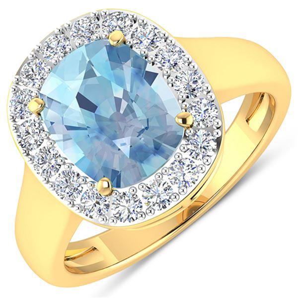 Natural 3.51 CTW Aquamarine & Diamond Ring 14K Yellow Gold - REF-96M3T