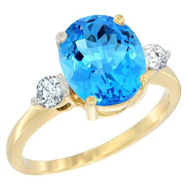 2.60 CTW Swiss Blue Topaz & Diamond Ring 14K Yellow Gold - REF-68M6A