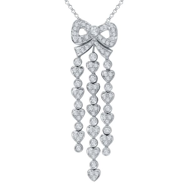 Natural 1.11 CTW Diamond & Pendant 18K White Gold - REF-180W2H