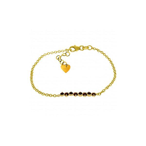 Genuine 1.55 ctw Garnet Bracelet 14KT Yellow Gold - REF-55V3W