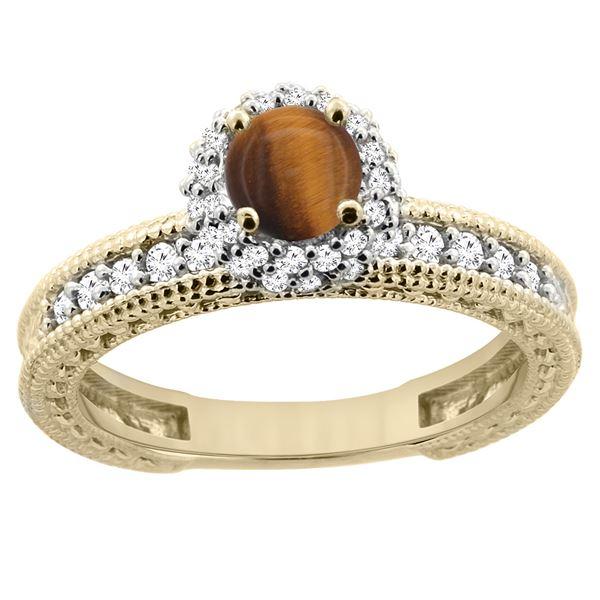 0.95 CTW Tiger Eye & Diamond Ring 14K Yellow Gold - REF-66K2W