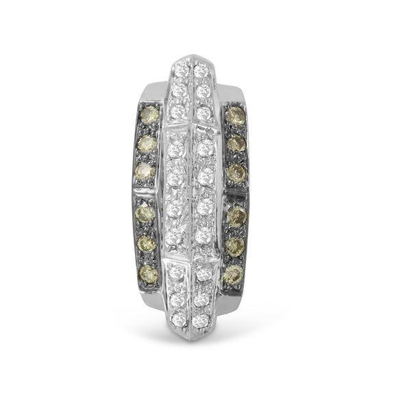 Natural 0.48 CTW Diamond & Brown Round Diamond Necklace 14K White Gold - REF-53W3H