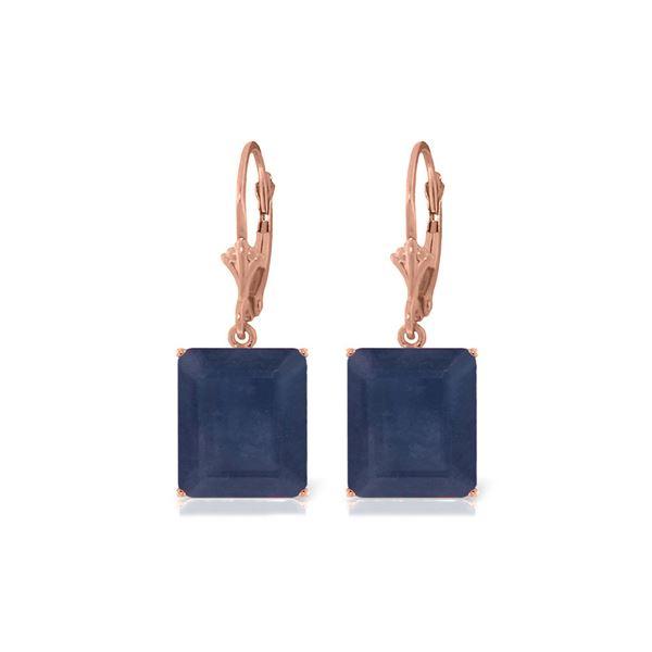 Genuine 14 ctw Sapphire Earrings 14KT Rose Gold - REF-121K7V