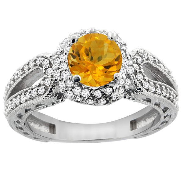 1.25 CTW Citrine & Diamond Ring 14K White Gold - REF-86H7M